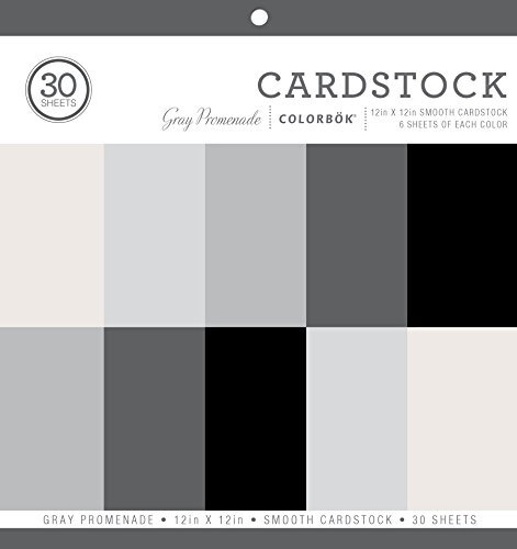 Colorbok Smooth Cardstock Paper Pad, 12' x 12', Gray Promenage