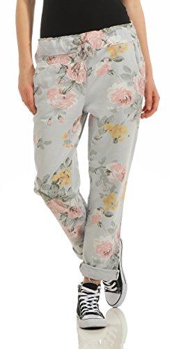 Mississhop 232 Damen Hose Freizeit Stoffhose Baumwollhose Sweatpants Boyfriend im Blumen Print One Size S M L XL 36 38 40 42 Grau