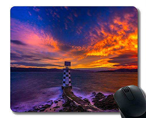 Yanteng Cojín de ratón de Goma Natural Impreso con el Faro del océano de la Puesta del Sol del Cielo del mar - Bordes cosidos