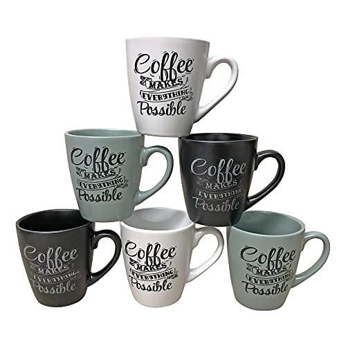 Kaffeebecher 6 Stück Coffee Possible Kaffeetassen 200ml aus Keramik Kaffee Becher Tassen 6er Set
