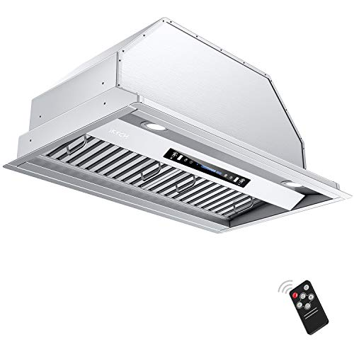 IKTCH 36 inch Built-in/Insert Range Hood 900 CFM, Ducted/Ductless Convertible Duct, Stainless Steel Kitchen Vent Hood with 2 Pcs Adjustable Lights and 3 Pcs Baffle Filters with Handlebar