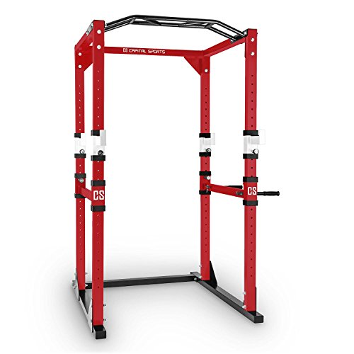 Capital Sports Tremendour Power Rack Käfig - Power Cage, Kraftstation, 2 x Safety Spotter: 20-stufig, 4 x J-Hooks, Multigripp-Klimmzugstange, aufsteckbare Dipstangen, Stahl-Kantrohrrahmen, rot