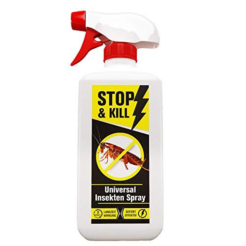 STOP & KILL Universal Insekten Spray 500ml | Bekämpfung mit Sofort- und Langzeitwirkung gegen alle Ungeziefer (z.B. Kakerlaken, Käferarten, Asseln, Schaben u.v.m.) | Geruchlos & Biologisch Abbaubar