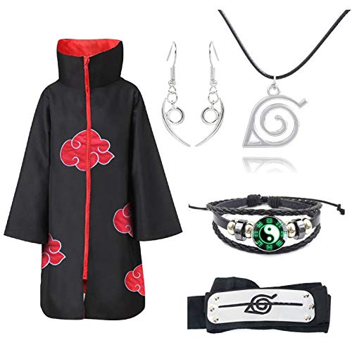 Ailin Online Juego de cosplay de Naruto: 1 capa de nube roja, 1 collar con logotipo de símbolo de pueblo de hoja, 1 pendiente Orochimaru, 1 pulsera, 1 diadema.