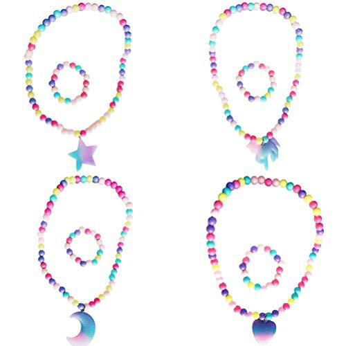 ABCDJHH Juego de 8 piezas con purpurina, unicornio, luna, unicornio, luna y estrella de cinco puntas, pulsera y collar de corazn de melocotn