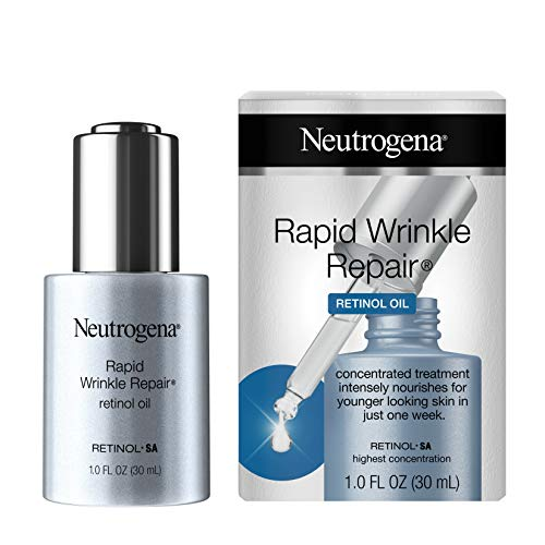 Neutrogena Rapid Wrinkle Repair Anti-Wrinkle Retinol Face Serum Oil, Lightweight Anti-Wrinkle Serum To Remove Dark Spots, Deep Wrinkle Treatment with Concentrated Retinol SA, 1.0 fl. oz Neutrogena