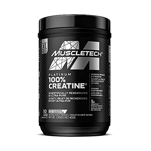 Creatine Monohydrate Powder, MuscleTech Platinum Creatine Powder, Pure Micronized Creatine Powder, Post Workout Supplement, Muscle Recovery, Muscle Builder, Mass Gainer, Unflavored (80 Servings)