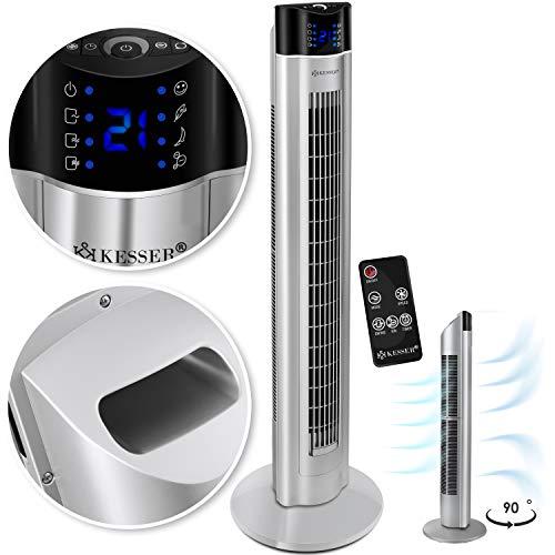 KESSER® Turmventilator mit Fernbedienung | 3 Stufen | 3 Modi | 107cm | 60 Watt | 7,5 Timer | LED-Leuchten | Tower-Ventilator | Standventilator | Säulenventilator | Luftkühler 90° oszillierend Silber