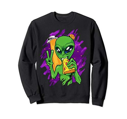 Alien Pizza Essen Frieden Halloween Lustige Raum Custome Sweatshirt