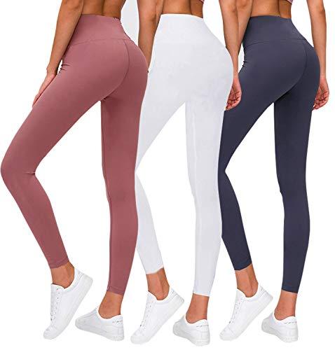 Premium Women's Leggings Soft High Waist Slimming Leggings Tummy Control Workout Yoga Pants (3 Pack-1 Dark Grey&1 White&1 Pink, Plus Size)