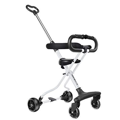 UrbanMiniStyle 軽量 折りたたみ キッズスクーター 4輪 コンパクト 耐荷重30kg ストッパー機能付き 約1歳半~6歳まで使える バギー (ホワイト)