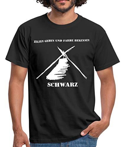 Kothe Schwarz Zelten Gehen und Farbe Bekennen Männer T-Shirt, M, Schwarz