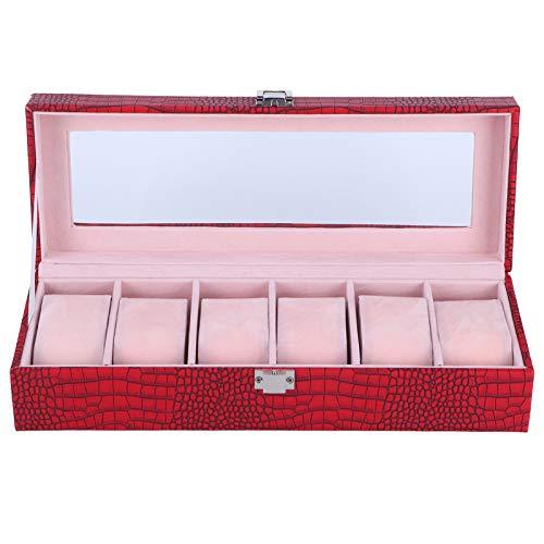 Soporte para reloj, organizador de joyas rectangular multifunción vino rojo color caja de almacenamiento para visualización