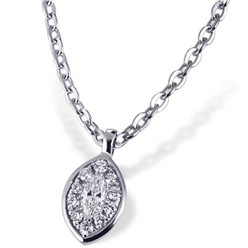 Goldmaid Damen-Halskette Glamour Eye 585 Weißgold 10 Brillanten 0,05 ct. SI/H 1 Diamant 0,06 ct. SI/H Kettenanhänger Schmuck Diamantkette