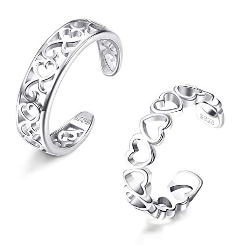 SLLAISS 925 Sterling Silver Toe Rings For Women Hypoallergenic Adjustable Open Toe Rings Celtic Tail Ring Flower Knot Heart Finger Rings Set Foot Jewelry