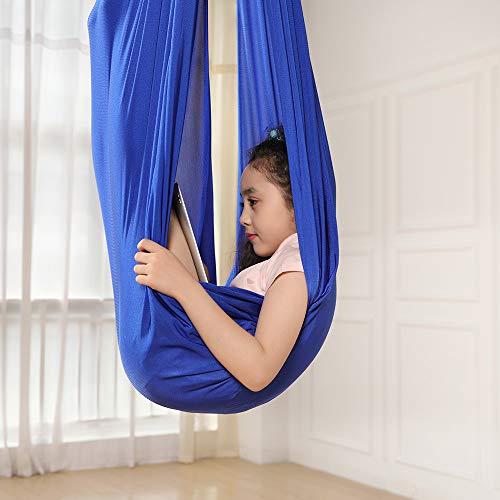 Kinder Schwingen Hängematte, Indoor Schaukel Elastisch Cuddle Hammock Sensory Swing Ideal für ADHS, Asperger und sensorische Integration sowie Autismustherapie (Blau, 150 X 280CM)