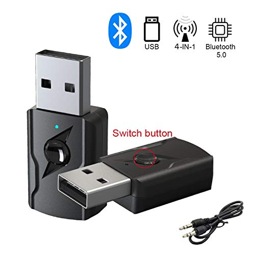 GeekerChip Ricevitore/Trasmettitore Bluetooth USB,Adattatore Bluetooth 5.0 USB,Adattatore Wireless Portatile per Casa/Auto/Laptop, Jack AUX-in 3,5mm D