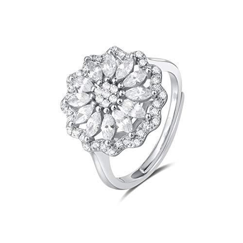 Quiges Dames Ring Klassiek Bloem van 925 Zilver met Zirkonia Stenen 16.5mm