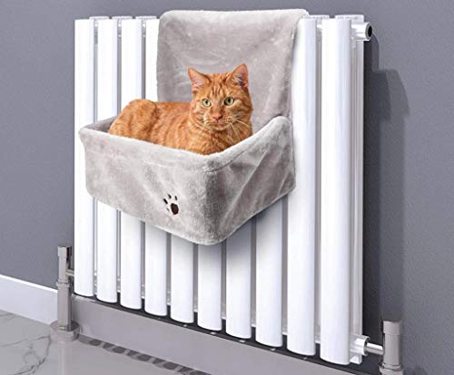 ALAYSTAR Premium Smooth Comfy Snugly Hanging Cushion Cat Radiator Bed with Strong Padded Frame to Hook onto Radiator – Suitable for all Kitties of about 10Kgs – Keep Your Pet Comfortable and Cuddly
