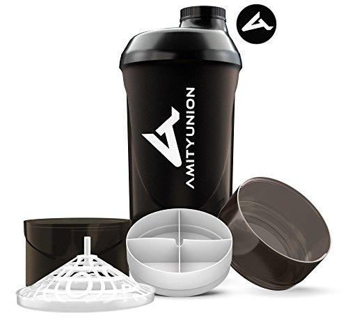 Fitness Shaker 700 ml mit 2 Extra Fächern - Deluxe Protein Shaker komplett auslaufsicher - BPA frei mit Sieb und Skala für Whey und BCCA Pulver, Trinkflasche für Trainings Boster - Schwarz Smoke Cup