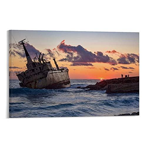 Póster de Boat Boats Ship Ocean Suns de lienzo y póster de pared con impresión artística moderna para habitación familiar, 20 x 30 cm