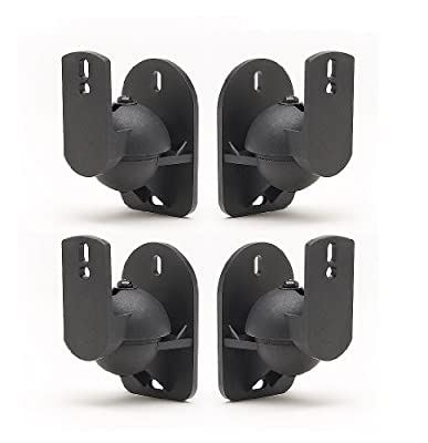 TechSol Universal Speaker Wall Brackets, Pack of 4, Black from Gadgetcenter