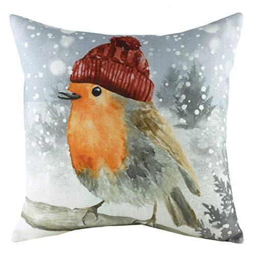 Evans Lichfield Snowy Robin with Hat Cushion Cover, Multi, 43 x 43cm