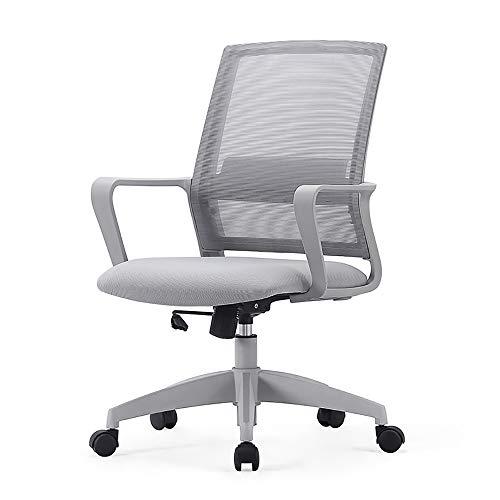 LSY Bürostuhl, Home Desk Chair Mesh-Computerstuhl Mit Mittlerer Rückenlehne Lendenwirbelstütze Executive Chair Mit Verstellbarem Sitzkissen Drehstuhl, Grau