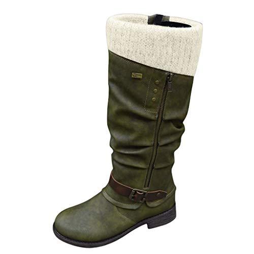 MOTOCO Damen Frauen Stiefe Mode Western Style Cowboy Reitstiefel Übergröße Knight Stiefel High Tube Stiefel(38 EU,Grün 2)
