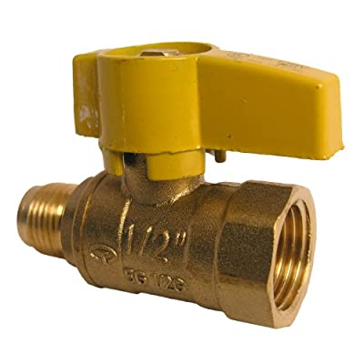 LASCO 10-1611 Straight Gas Ball Valve with 3/8-Inch Flare and 1/2-Inch Female Pipe Inlet, Brass by LASCO