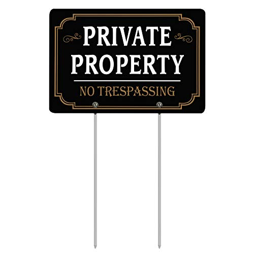 HISVISION Private Property No Trespassing Sign with Metal Stakes, 12' x 8' Heavy Duty Aluminum Reflective No Trespassing Sign for Lawn House Yard