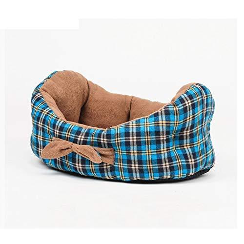 WYJW Reines Baumwoll-Plaid-Hundebett in Bootsform, weiches und bequemes eingebautes Kissen (auf beiden Seiten erhältlich), erhältlich in Allen Jahreszeiten M: 60 x 45 cm 蓝色
