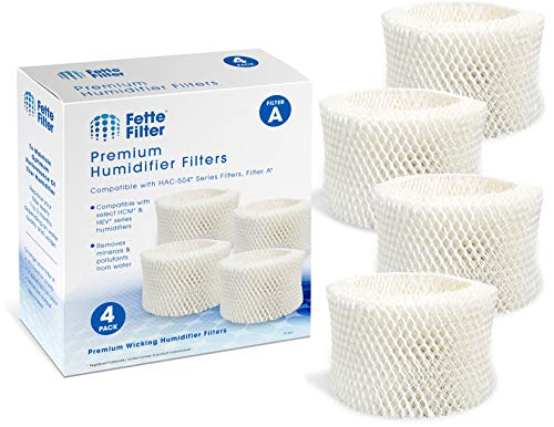 Fette Filter - Humidifier Wicking Filters Compatible with Honeywell HAC-504AW, Filter A for Models HAC-504, HAC-504AW, HCM 350 and Other Cool Mist Models (Pack of 4)