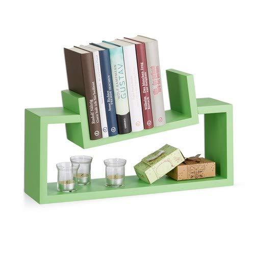 Relaxdays wandrek, set van 2, modern design, wandplank, hangend kruidenrek, plank, leisteenU-vorm, groen
