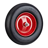 Relaxdays, schwarz Schubkarrenrad Vollgummi mit Achse, 4.80 4.00-8 Gummirad, pannensicher, 100kg Tragkraft Ersatzrad, rot