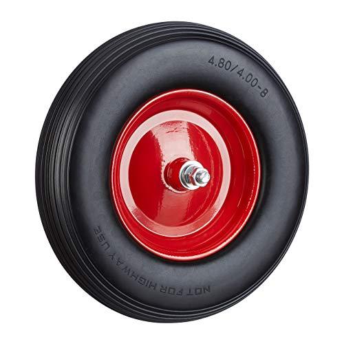 Relaxdays Schubkarrenrad Vollgummi mit Achse, 4.80 4.00-8 Gummirad, pannensicher, 100kg Tragkraft Ersatzrad, schwarz-rot