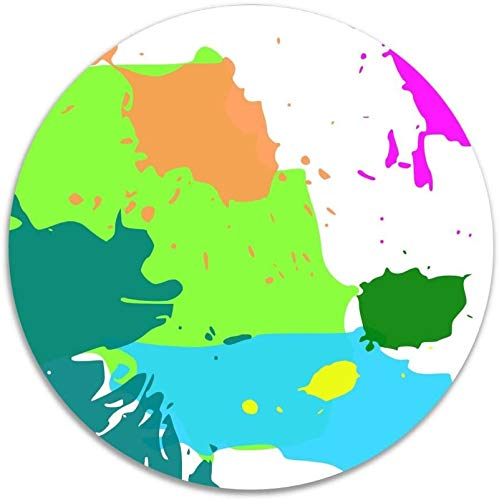 Color Pintura Arte Amor Antideslizante Terciopelo de coral Alfombras de área redonda Alfombras de espuma viscoelástica Alfombra de dormitorio de diámetro Alfombra de silla de yoga Felpudo