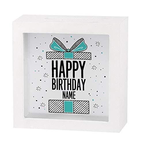Herz & Heim® Geldgeschenk zum Geburtstag in Form Einer bedruckten Spardose als Bilderrahmen - für Sie erstellt mit Wunschnamen Happy Birthday