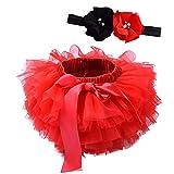 Happy Cherry Falda de Tutú con Cinta de Pelo de Flores para Niños Bebé Recién Nacido Accesorios de Fotografía para Fiestas Cumpleaños Rojo 6-12 Meses