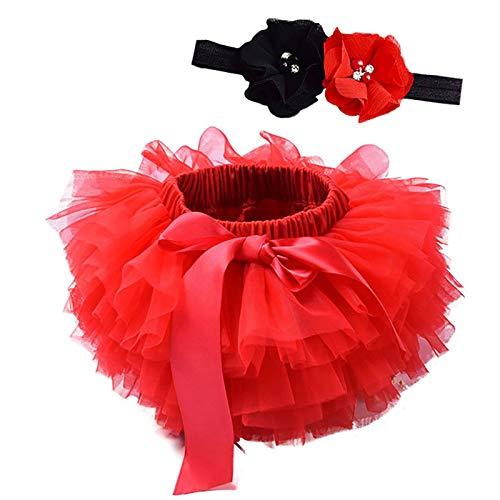 Happy Cherry Falda de Tutú con Cinta de Pelo de Flores para Niños Bebé Recién Nacido Accesorios de Fotografía para Fiestas Cumpleaños Rojo 12-24 Meses