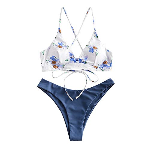 ZAFUL Damen Rückenschnürung Badeanzug Blumendruck Cheeky Thong Bikini, Weiß/Seidenblau-geblümt, Small