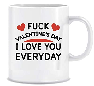 Valentine's Day Mug Funny Coffee Mug Gift for Lovers - I LOVE YOU EVERYDAY - Coffee Mug in Blue Ribbon Gift Box - 11 oz - Gifts for Him, Her, Husband, Wife - Both Sides Printed