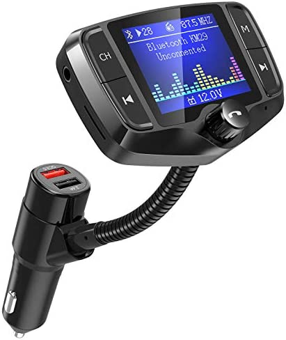 """[Upgraded Landscape Screen] NULAXY Bluetooth FM Transmitter, FM Transmitter with 1.8"""" Color Screen Car Bluetooth Adapter W QC3.0 USB Port, Support USB, TF Card, Aux, EQ Mode, Black"""