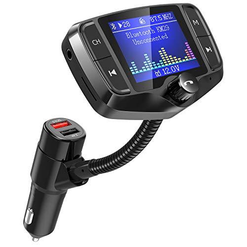 """FM Transmitter, NULAXY 1.8"""" Farbbildschirm Transmitter (2019 NEU) W/QC 3.0 untstützt Auto Batterie Lesen/Handsfrei Anrufen/unterstützt USB/TF Carte, Aux, EQ Mode(KM29) (①Schwarz)"""