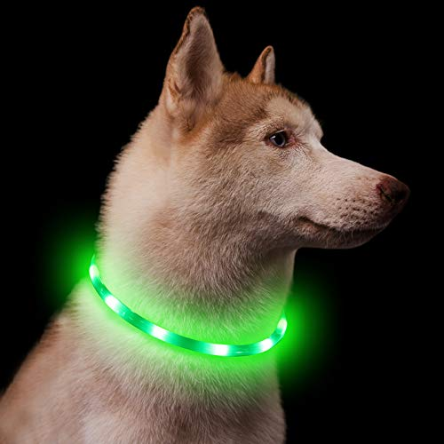 Light Up Dog Collar Rechargeable - Cut to Fit Any Size - Super Bright LED - Water Resistant - 360-Degree Lighted Safety Pet Dog Collar for Hiking and Night Walks - Green