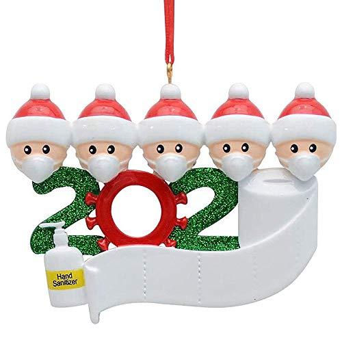 Weihnachtsschmuck DIY Schneemann Anhänger,personalisierte Name Weihnachtsschmuck Kit mit Maske, Quarantäne Survivor Family Customized Weihnachtsdekoration Kit Kreatives Geschenk für die Familie (D)