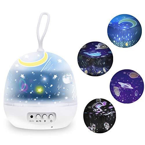 Lámpara Proyector Nabowei, Lámpara Proyector Estrellas, Luz Planetas 8 Modos Iluminación Romántica con Rotación 360 Grados Luz Nocturna, Lámpara Infantil con Control de Temporizador, para Novia, Bebés