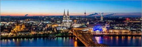 Posterlounge Acrylglasbild 60 x 20 cm: Köln-Skyline von euregiophoto - Wandbild, Acryl Glasbild, Druck auf Acryl Glas Bild
