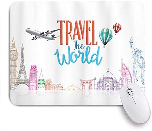 Gaming Mouse Pad rutschfeste Gummibasis, Reise um die Welt Schriftzug mit rund um die Welt Wahrzeichen Luftballons Kunstwerk Bild, für Computer Laptop Schreibtisch
