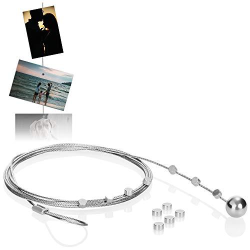 com-four® Set Fotodrahtseil mit 12 Magneten, Circa 190 cm x 1,2 mm, aus Metall - Fotodraht mit Magneten zum Aufhängen von Fotos (01 Stück)
